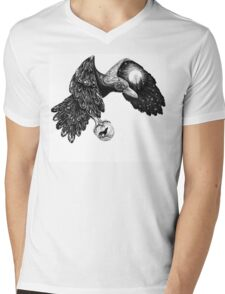 Raven with a full moon on a wing and a wolf in the ball Mens V-Neck T-Shirt