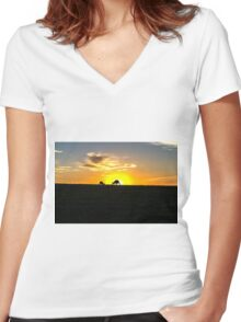 Silhouette of Kangaroos at  Sunset Women's Fitted V-Neck T-Shirt