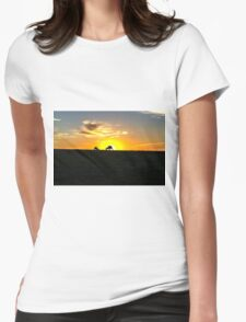 Silhouette of Kangaroos at  Sunset Womens Fitted T-Shirt