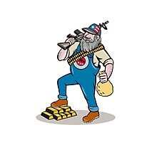 Hillbilly Man Rifle Gold Bars Money Bag Cartoon Photographic Print