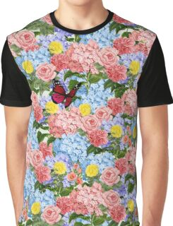 Floral Bouquet with Hydrangeas, Roses and Butterfly Graphic T-Shirt