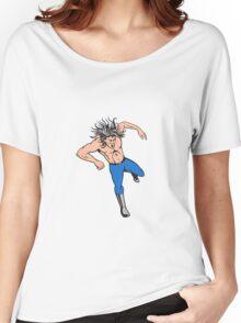 Man Big Hair Jumping Cartoon Women's Relaxed Fit T-Shirt
