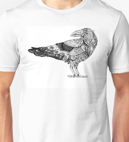 Raven with patterns painted in the style of steampunk Unisex T-Shirt