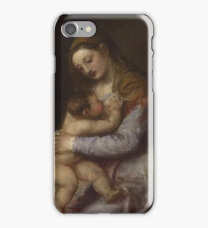 Tiziano Vecellio, Titian - The Virgin suckling the Infant Christ iPhone Case/Skin