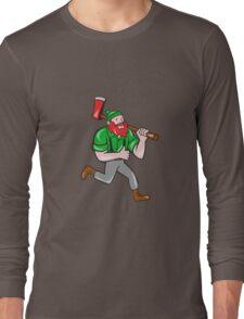 Paul Bunyan Lumberjack Axe Running Cartoon Long Sleeve T-Shirt