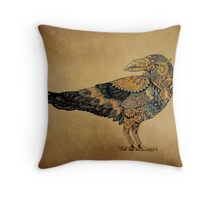 Raven with patterns painted in the style of steampunk (color) Throw Pillow