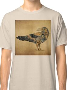 Raven with patterns painted in the style of steampunk (color) Classic T-Shirt