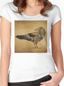 Raven with patterns painted in the style of steampunk (color) Women's Fitted Scoop T-Shirt