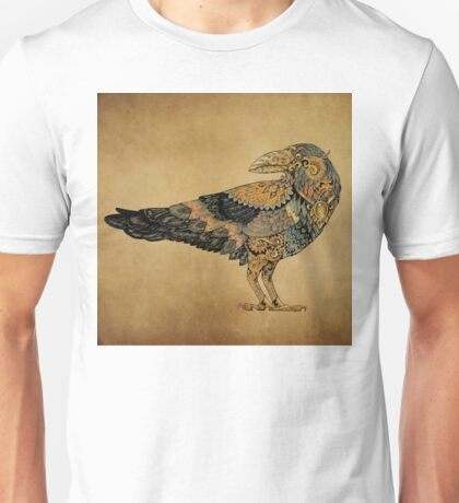 Raven with patterns painted in the style of steampunk (color) Unisex T-Shirt