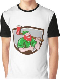 Paul Bunyan Lumberjack Axe Thumbs Up Crest Cartoon Graphic T-Shirt