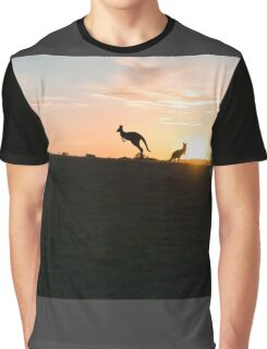 Silhouette of a Jumping Kangaroo at Sunset Graphic T-Shirt
