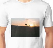 Silhouette of a Jumping Kangaroo at Sunset Unisex T-Shirt