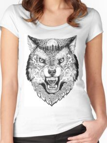 Head wolf grinning with trees and moon on fur Women's Fitted Scoop T-Shirt