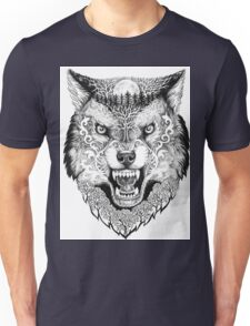 Head wolf grinning with trees and moon on fur Unisex T-Shirt