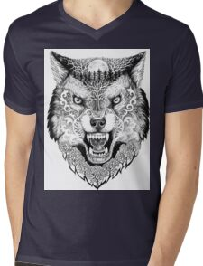Head wolf grinning with trees and moon on fur Mens V-Neck T-Shirt