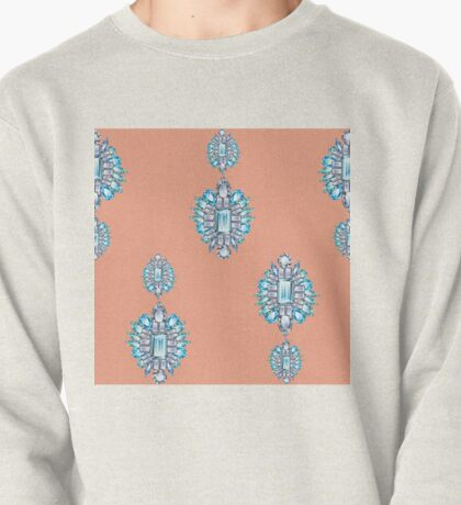 Jewelbox: Aquamarine Brooch on Coral Spice Pullover