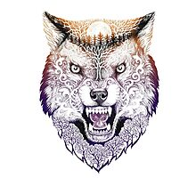 Head wolf grinning with trees and moon on fur (color) Photographic Print