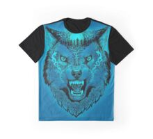 Head wolf grinning with trees and moon on fur (color fon) Graphic T-Shirt