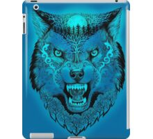 Head wolf grinning with trees and moon on fur (color fon) iPad Case/Skin