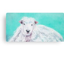 Sheep painting on turquoise - Jeremiah Canvas Print