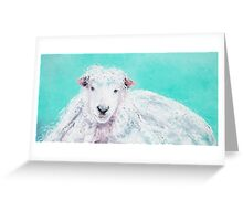 Sheep painting on turquoise - Jeremiah Greeting Card