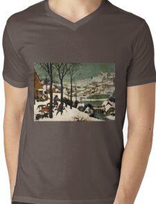 Pieter Bruegel the Elder - Hunters in the Snow Winter  Mens V-Neck T-Shirt