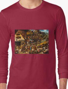 Pieter Bruegel the Elder - The Dutch Proverbs  Long Sleeve T-Shirt