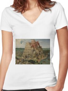 Pieter Bruegel the Elder  - The Tower of Babel  Women's Fitted V-Neck T-Shirt