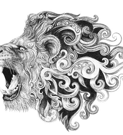 Head grinning lion with a mane Sticker