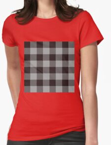 90's Buffalo Check Plaid in Greige and Black Womens Fitted T-Shirt