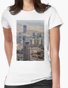 Photography of tall buildings, skyscrapers from Dubai seen from above. United Arab Emirates. Womens Fitted T-Shirt