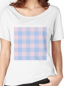 90's Buffalo Check Plaid in Baby Blue and Baby Pink Women's Relaxed Fit T-Shirt