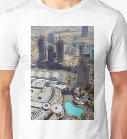 Photography of tall buildings, skyscrapers from Dubai seen from above. United Arab Emirates. Unisex T-Shirt