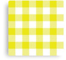 90's Buffalo Check Plaid in Flourescent Citrine and White Canvas Print