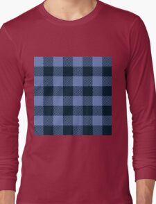 90's Buffalo Check Plaid in Light Blue and Dark Blue Long Sleeve T-Shirt