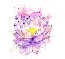 Lotus Flower Watercolor 4 Photographic Print