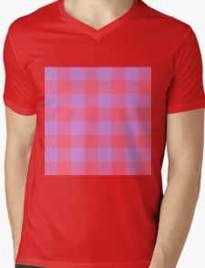90's Buffalo Check Plaid in Hot Coral and Electric Lilac Mens V-Neck T-Shirt