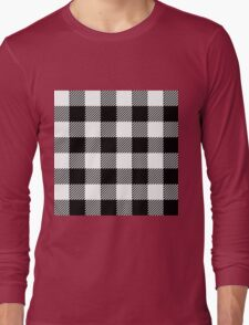 90's Buffalo Check Plaid in Black and White Long Sleeve T-Shirt