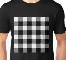 90's Buffalo Check Plaid in Black and White Unisex T-Shirt