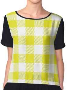 90's Buffalo Check Plaid in Flourescent Citrine and White Chiffon Top