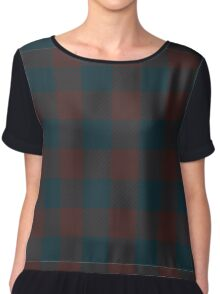 90's Buffalo Check Plaid in Dark Evergreen and Dark Maroon  Chiffon Top