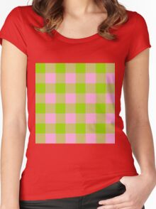 90's Buffalo Check Plaid in Lime and Bubblegum Pink Women's Fitted Scoop T-Shirt