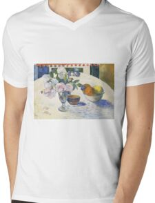 Paul Gauguin - Flowers and a Bowl of Fruit on a Table . Still Life  Mens V-Neck T-Shirt