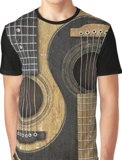 Old and Worn Acoustic Guitars Yin Yang Graphic T-Shirt