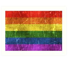 Vintage Aged and Scratched Rainbow Gay Pride Flag Art Print