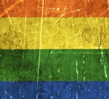 Vintage Aged and Scratched Rainbow Gay Pride Flag Sticker