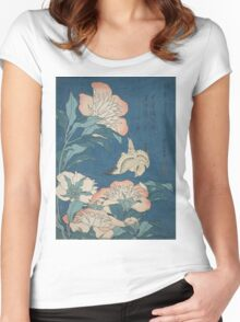 Katsushika Hokusai - Peonies and Canary Shakuyaku. Japanese Still Life . Flowers Women's Fitted Scoop T-Shirt