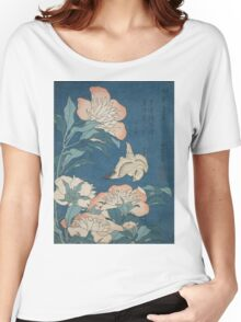 Katsushika Hokusai - Peonies and Canary Shakuyaku. Japanese Still Life . Flowers Women's Relaxed Fit T-Shirt