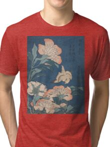 Katsushika Hokusai - Peonies and Canary Shakuyaku. Japanese Still Life . Flowers Tri-blend T-Shirt