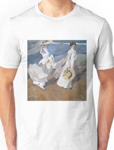 Joaquin Sorolla y Bastida - Strolling along the Seashore 1909 , Fashion , Portrait Unisex T-Shirt